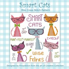 These smart cats can teach you a thing or two about all sorts of purr-fect formulas! Have fun stitching these colorful cats with geeky glasses. crossstitch, cross stitches, smart cat