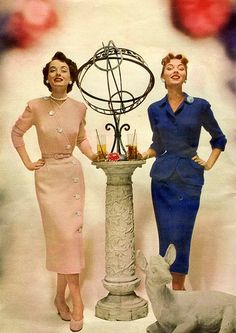 1952 Ladies Home Journal Pink and Blue Dresses