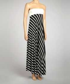 Take a look at this Black & White Stripe Strapless Dress by La Class on #zulily today!
