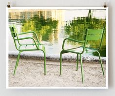 Tuileries Chairs Paris Reflecting  16x20 French by littlebrownpen, $75.00
