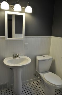 1950's Pink bathroom to awesome modern bathroom makeover (Beadboard, Peppercorn, Hex tile)!