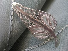 Handmade Sterling Silver Leaf Filigree Brooch by TrulyFiligree, $38.50
