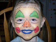 Face Painting Boy Scarecrow Designs