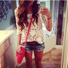 jean shorts, summer fashion, teen fashion, lace tops, denim short, street styles, summer outfits, white lace, shirt