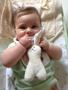 Olive & Pickles Organic Bunny Rattle Toy
