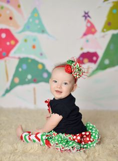My beautiful 7mth old daughter! Outfit by Stinkin Cute Designs.