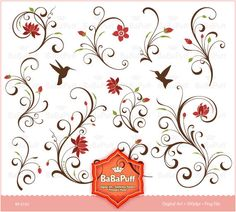 Floral Designs - clip art for scrapbooking, wedding invitation card, Personal and Small Commercial Use. BP 0192. $5.00, via Etsy.