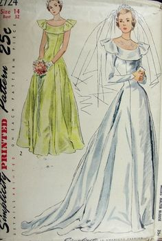 1940s PRINCESS STYLE WEDDING GOWN BRIDAL DRESS PATTERN FLATTERING BERTHA COLLAR SIMPLICITY 2724
