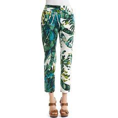 Lafayette 148 New York Palm Tree-Print Cropped Pants