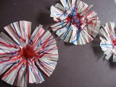 Cupcake Liner Fireworks and more 4th of July Crafts!
