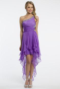 Camille La Vie One Shoulder Hanky Hem Handkerchief High Low Prom Dress