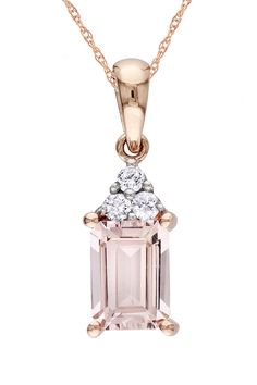10K Rose Gold Morganite & Diamond Pendant Necklace