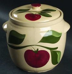 Double apple cookie jar. Watt pottery. cooki jar, appl cooki, watt appl, doubl appl, cookie jars, appl kitchen