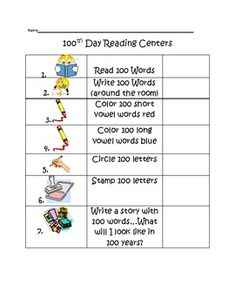 100th Day of School Reading Center Station Ideas
