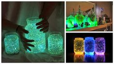 These Glowing Jars provide a night light to help ease to sleep at night time .. Learn how to do it yourself..
