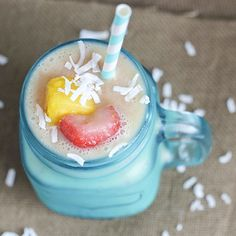 Skinny Tropical Protein Smoothie | Skinny Mom | Where Moms Get The Skinny On Healthy Living Ingredients      1 cup unsweetened almond milk     1 cup frozen tropical fruit mix     1 scoop vanilla protein powder     1/2 tsp coconut extract
