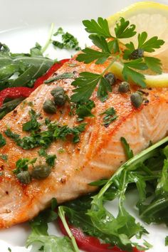 Salmon with Lemon, Capers, and Rosemary | KitchMe