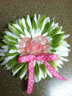 baby shower corsage I made out of gerber daisies and a pacifier gerber daisies, baby shower corsage, shower idea, gerber daisy baby shower, babi shower, baby showers