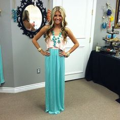 Pink Ruffle Top and Mint Maxi Dress-