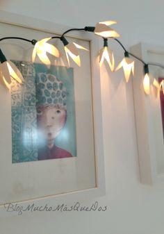 DIY.Guirnaldas de flores con luces.