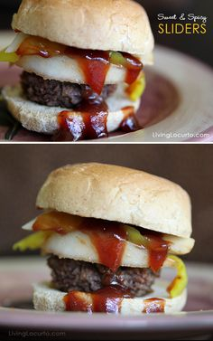 Sweet & Spicy Burger Recipe. So good! Perfect sliders for a party. Livinglocurto.com