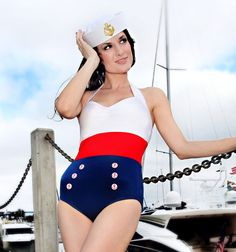 Sailor Color Blocked Nautical Retro Onepiece Bombshell Americana Swimsuit (S-2X) - The cutest swimsuit!!!