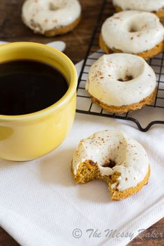 Skinny Pumpkin Cinnamon Chip Donuts with Maple Cream Cheese Glaze | www.themessybakerblog.com
