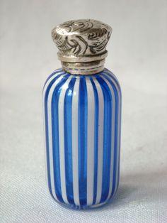 Antique Miniature Venetian Latticino Striped Perfume Scent Bottle Silver Lid c1860