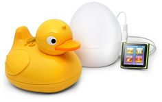 ThinkGeek :: iDuck - Bathtub Music Plug your ipod into the egg then take the duck into the shower and it plays your music and is waterproof!   30$