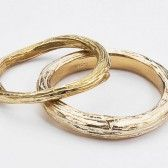 Gold wedding bands with twig detail by Barbara Michelle Jacobs via Emmaline Bride - The Marketplace