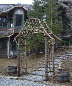 Rustic twig arbor