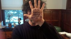 "For a series called ""Hand in Hand,"" Wofford College invited various authors of speculative fiction to jot down short but important bits of writing advice on their own hands, photograph it, and send it in. Here is Neil Gaiman…"