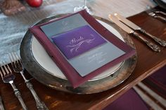 Purple table decor, wedding planned by La Fete with photos by Melissa Musgrove Photography | junebugweddings.com