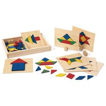 Excellerations™ Wooden Pattern Blocks & Board Set - 69 Pieces