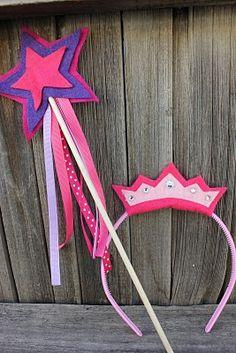 DIY princess party favors - wand and tiara.