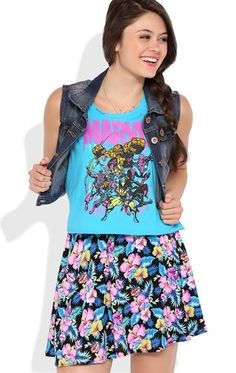 Deb Shops cotton span deep armhole crop tank with neon marvel comics screen $12.00