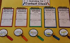 CONTEXT CLUES CRAFTIVITY!  Teach five types of context clues with this activity:  definition, synonym (restatement), antonym (contrast), example, and inference.  Students read ten sentences and determine the meaning of the underlined words AND the type of context clue they used to identify the meaning.  This is differentiated so that it can be used across multiple grade levels.  http://www.teacherspayteachers.com/Product/Context-Clues-Craftivity-370631