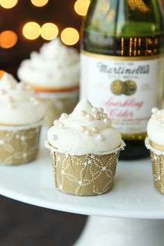 Mini Sparkling Cider Cupcakes~ fancy cupcake for bridal showers, weddings, Christmas, New Years or Anniversaries!
