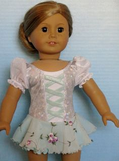 Silver and Embroidered Aqua Ice Skating Dress for American Girl doll by DesignsforIce