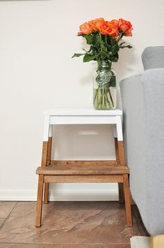 Take one ladder, dip dye with some white paint and a very handy bedside table is yours!
