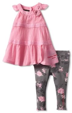 Calvin Klein Baby-girls Infant Tunic with Printed Pants