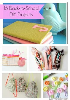 15 Back-to-School Projects {DIY Ideas}...cute stuff!  Add a bit of fun to the first days of school! #backtoschool