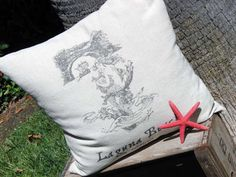 Sturdy pillows from painter's drop cloth, with laser-print transfer - really *great* instructable from ShabbyBeachNest! #DIY #sewing #craft