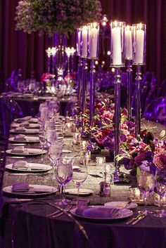 Candles and low arrangements - perfect for a long table.
