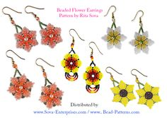 Beaded Flower Earring Patterns by Rita Sova ~ Handmade also for SALE!