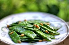 Snow Peas with Pine Nuts and Mint