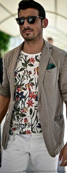 Italian Floral ashion for mens. Hair. Beards. Masculine