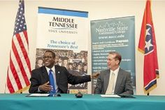 The presidents of MTSU and Nashville State Community College signed an agreement March 14 to make it easier for students to earn degrees from both institutions.