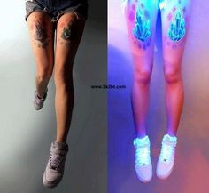 crystal tattoo with blacklight ink