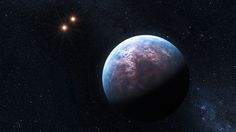 This exoplanet orbits the star Gliese 667 C, which belongs to a triple system. The six Earth-mass exoplanet circulates around its low-mass host star at a distance equal to only 1/20th of the Earth-Sun distance. The host star is a companion to two other low-mass stars, which are seen here in the distance.